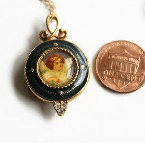Vintage Angel Locket Necklace, Avon.